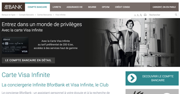 Carte Infinite BforBank