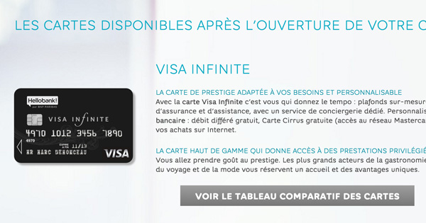 Hello Bank carte bancaire Visa Infinite