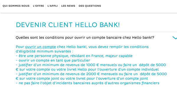Hello bank baisse ses conditions d 39 ligibilit pour for Condition pour ouvrir un garage automobile