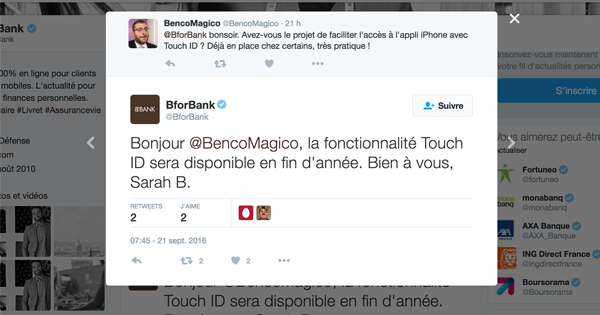 Touch ID chez BforBank