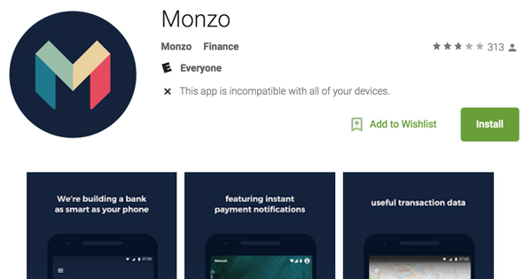 Monzo sur Android