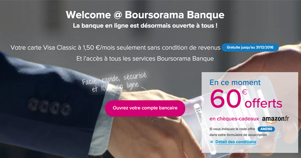 boursorama banque welcome est un compte payant pour tous m2. Black Bedroom Furniture Sets. Home Design Ideas