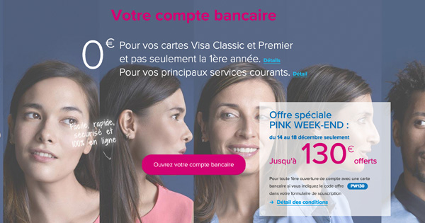 Pink Week-end Boursorama : 130 euros en décembre 2017