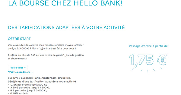 PEA bourse Hello Bank!