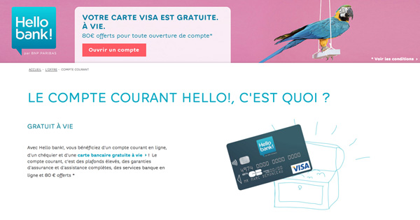Prime bienvenue Hello Bank 80