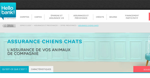 assurance chiens chats hellobank